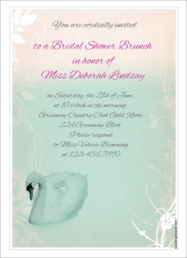 white swan bridal shower invitation