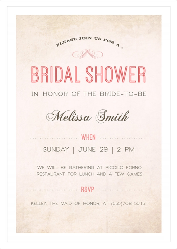 Sample Bridal Shower Invitation Template   Documents In Pdf