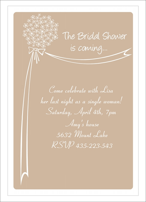 Sample Bridal Shower Invitation Template 29 Documents in PDF – Wedding Shower Invitation Templates Free