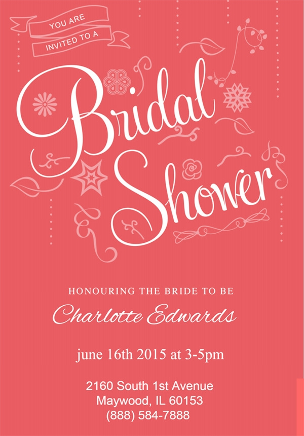 classic pink shower invitation template