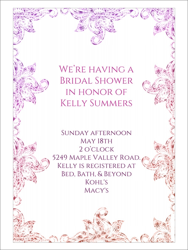 floral frame bridal shower invitation