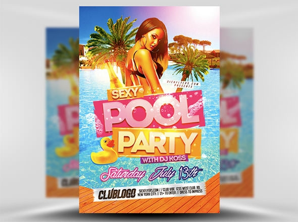 Pool Party Flyer Template. Party. Party