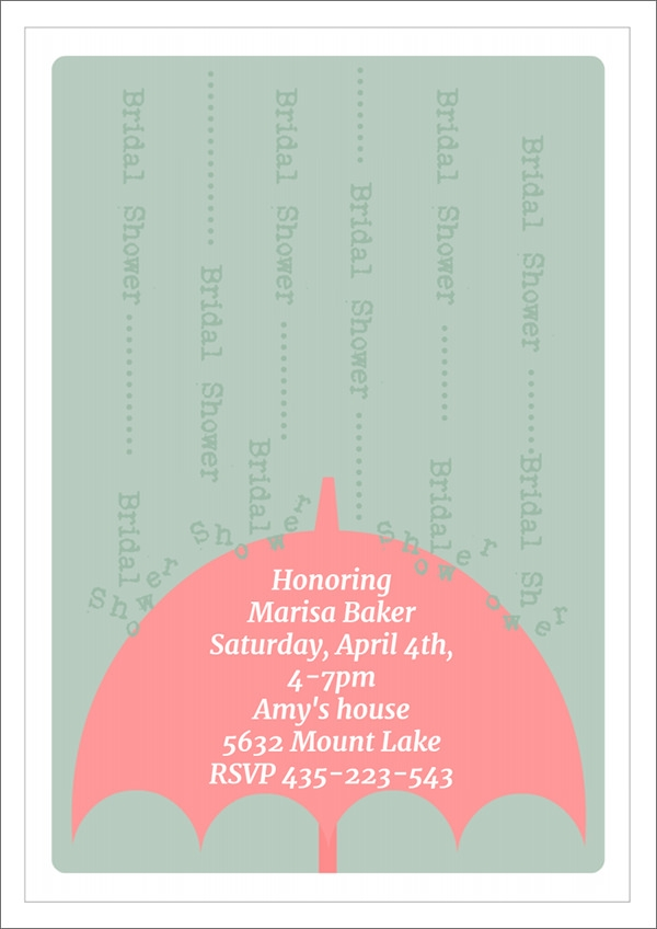 umbrella bridal shower invitation template