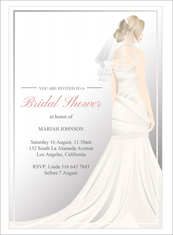 wedding dress bridal shower invitation template