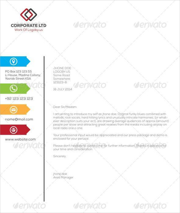 Elegant Professional Corporate Letterhead Template 000890: Sample Business Letterhead Template