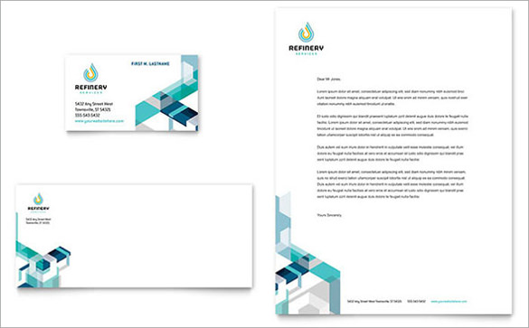 oil gas company business card letterhead template