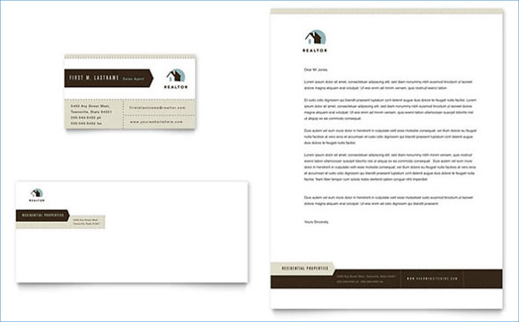 real estate agent realtor business card letterhead template