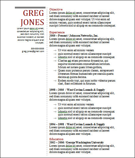 basic manger resume template