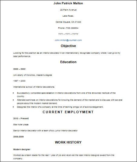 simple basic resume template