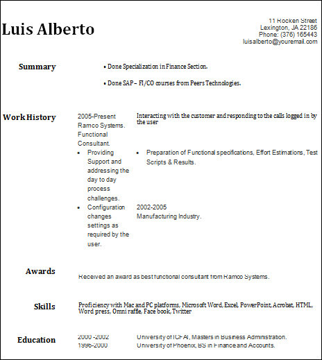 basic resume for student