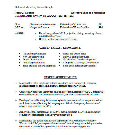 basic sales and marketing resume