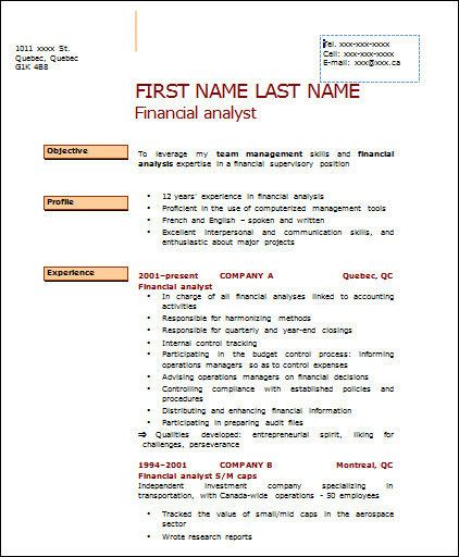 basic financial analyst resume