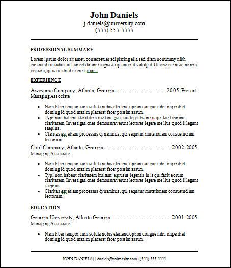 basic free resume