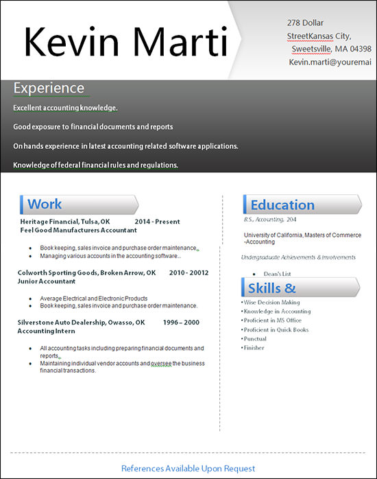 accountant resume format word accounting template creative details file