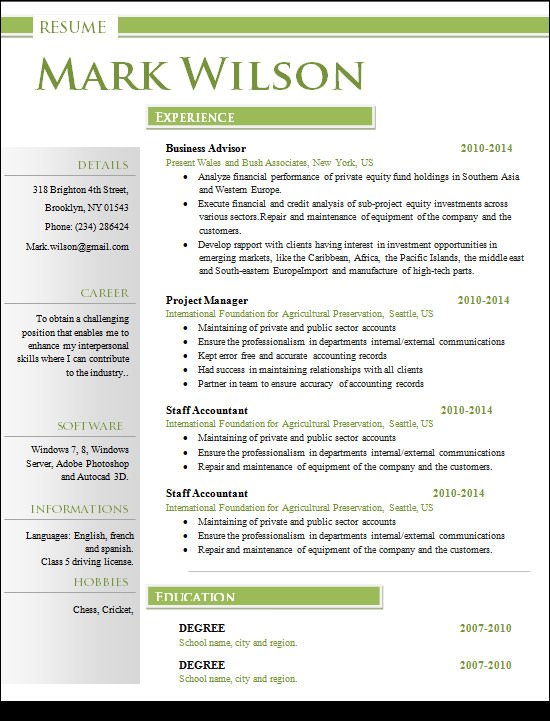 resume format customer service
