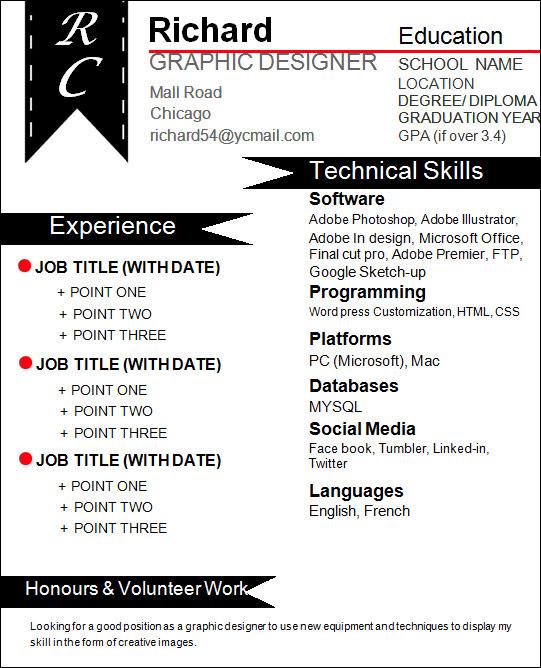 creative graphic designer resume