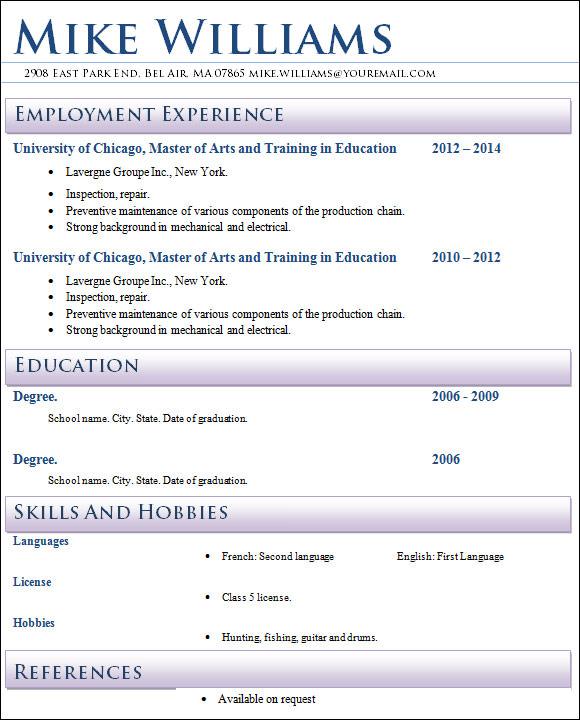 creative teacher resume
