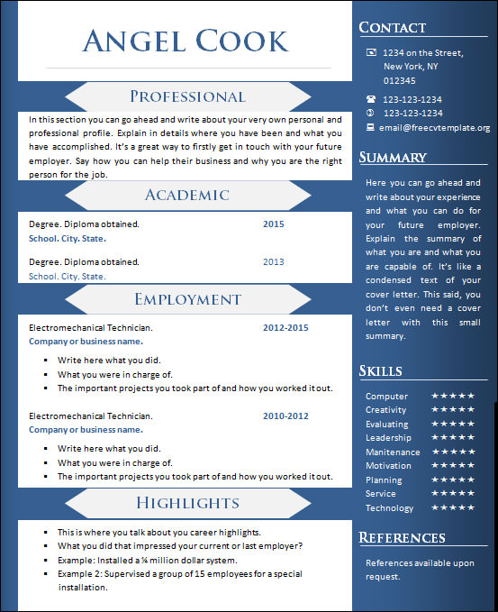 Sample Creative Resume   Documents In Word