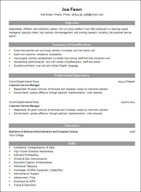 customer service manager resume template gilbert - Service Manager Resume