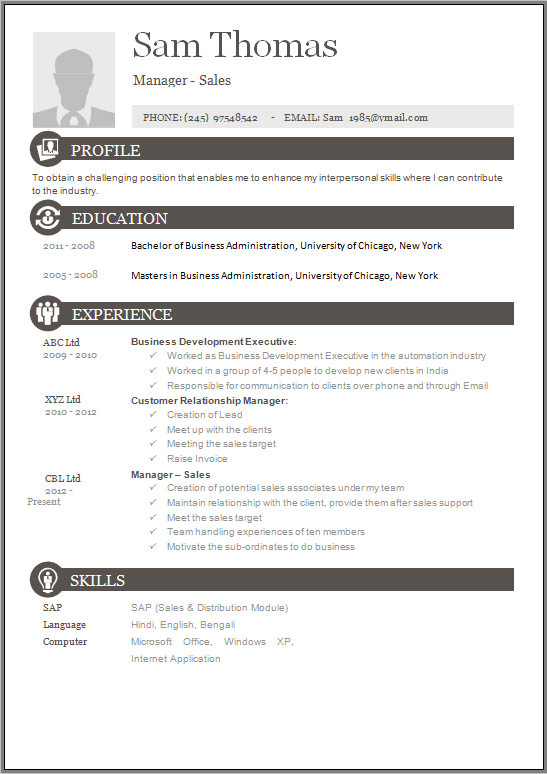Sample Free Resume Templates - 13+ Free Documents In Word