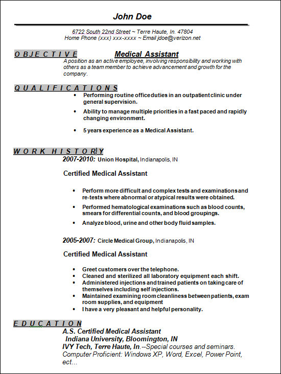 Medical Assistant Resume Templates | Resume Format Download Pdf