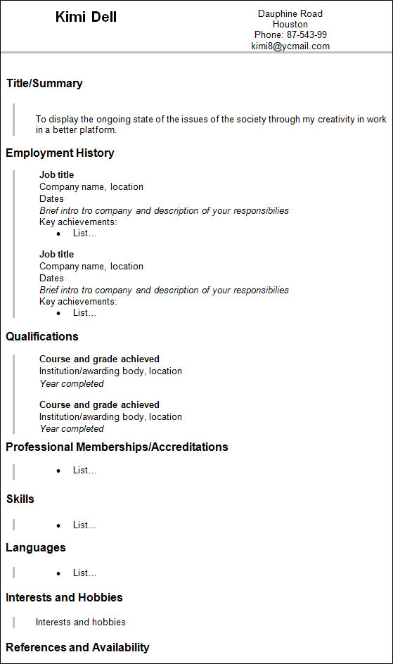 sample artist resume1