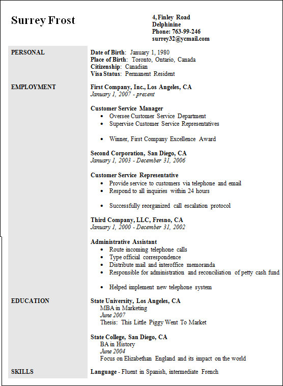sample customer service manager resume