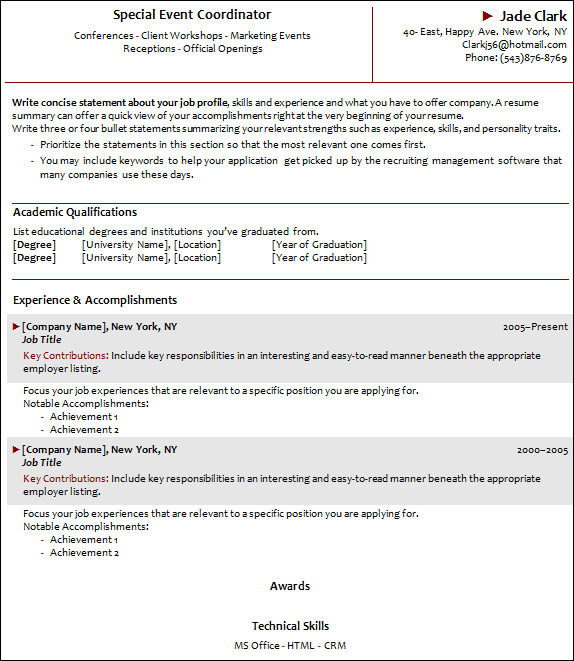 sample event cordintor resume