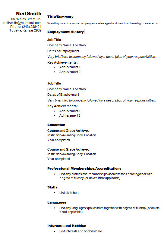 Resume Templates 18 Samples Examples Format