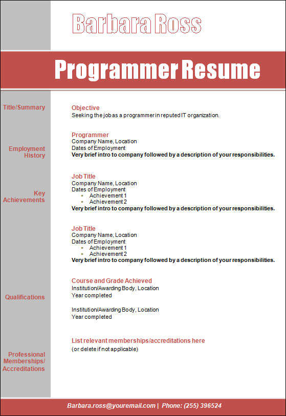 sample programmer resume