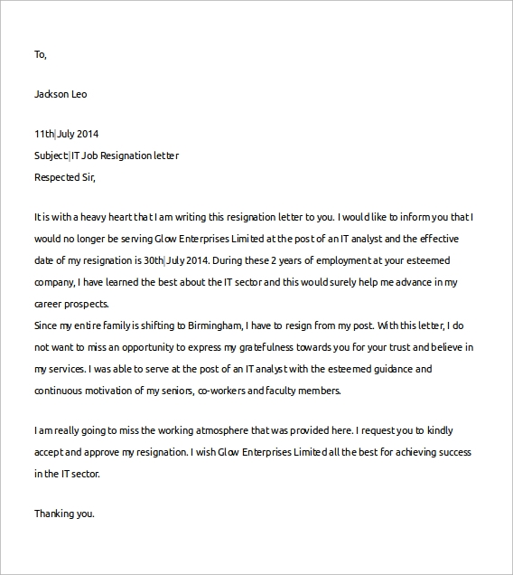Sample Job Resignation Letter Template 14 Free Documents in Word – Sample of Professional Resignation Letter