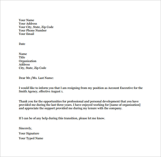 Sample Job Resignation Letter Template 14 Free Documents in Word – Resignation Letter from a Position