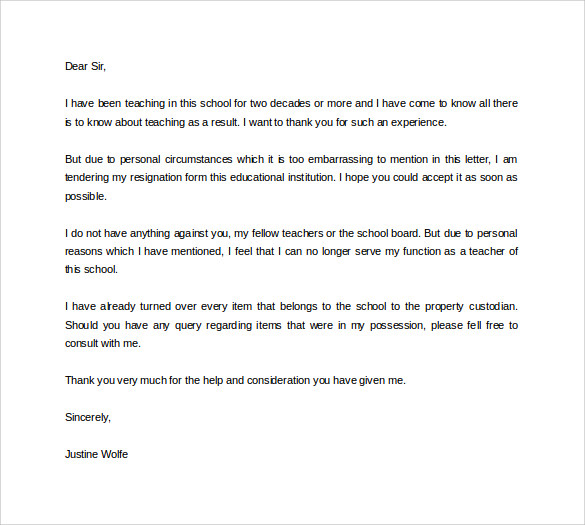 download formal teacher resignation letter