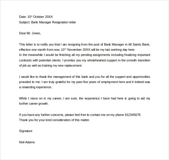 formal bank manager resignation letter