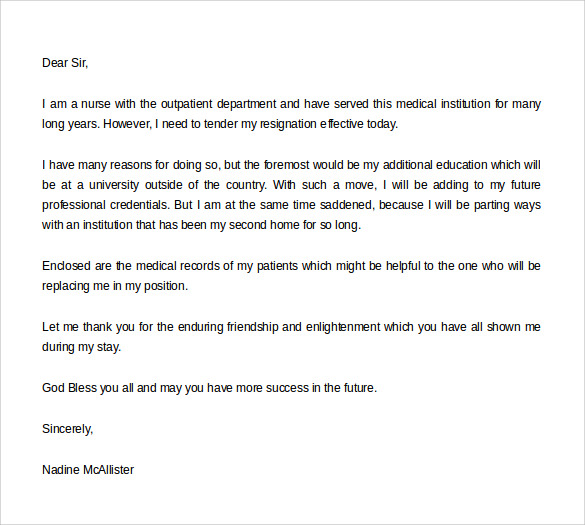 Nursing Resignation Letter Template ] - nursing resignation ...