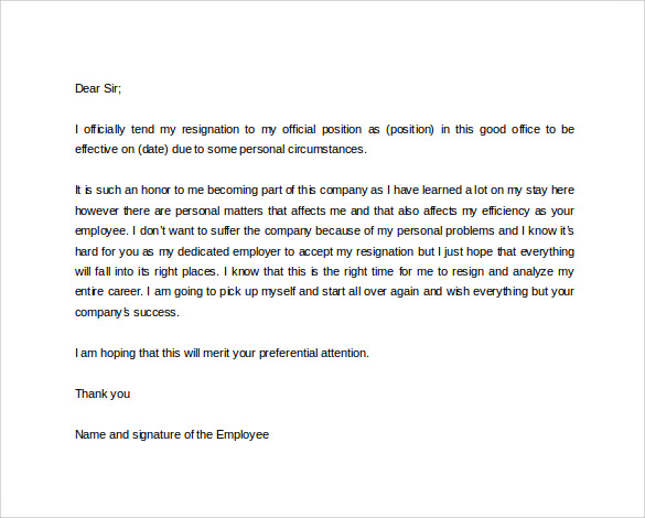 Doc565704 Formal Resignation Letter Formal Resignation Letter – Resignation Letter Download Free