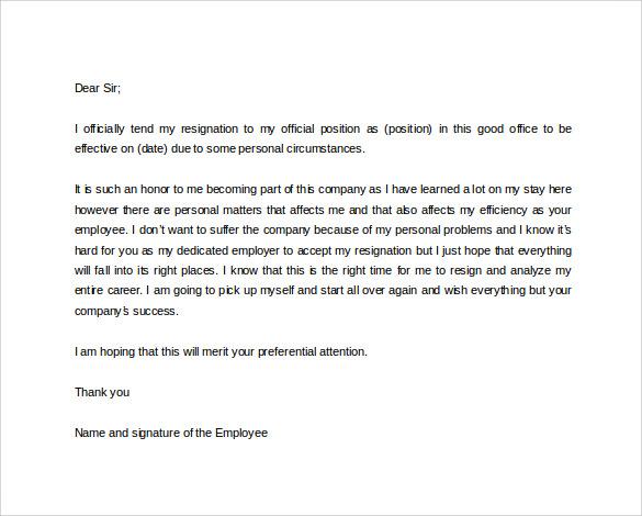 Formal resignation letter template formal resignation letter format spiritdancerdesigns Choice Image