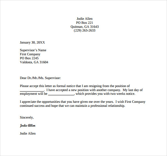 formal resignation letter for free