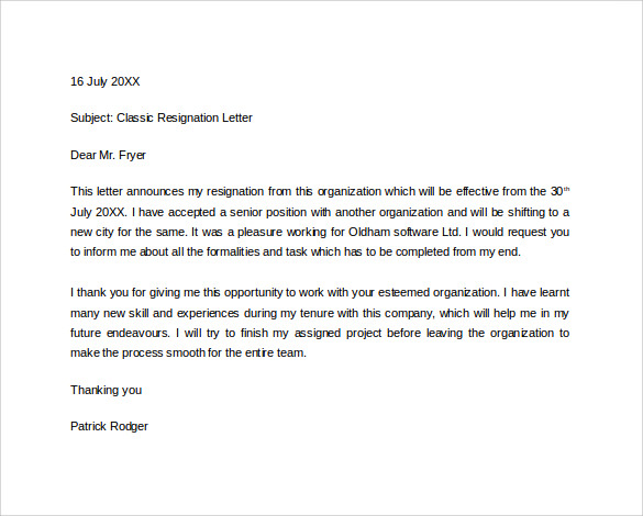 formal resignation letter in word