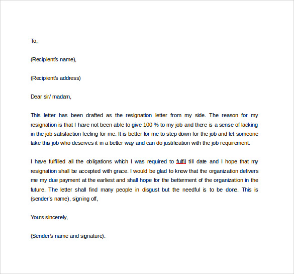 Attractive Formal Resignation Letter To Download In Word
