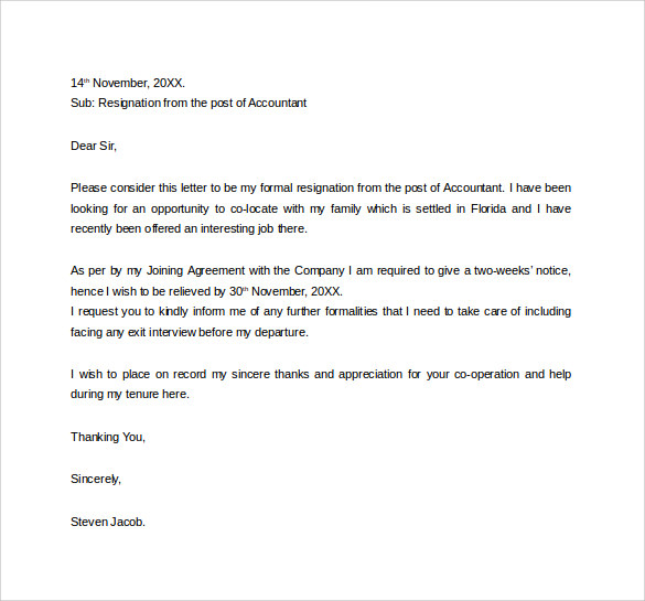 Formal Resignation Letter 40 Download Free Documents In
