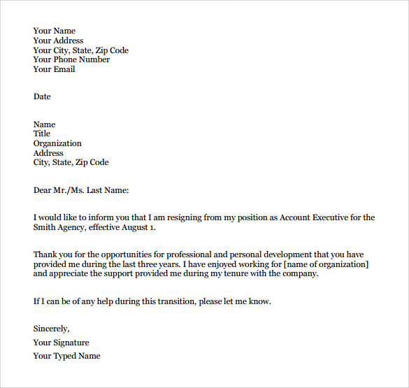 ... template is the best suited formal resignation letter for all types of