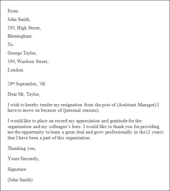 resignation letter in company