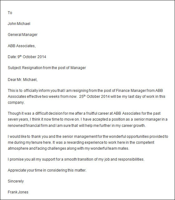 Beautiful Professional Resignation Letter Sample