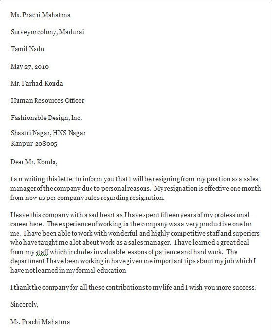 professional resignation letter format031