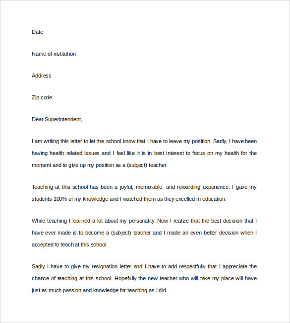 Teacher Resignation Letter Word