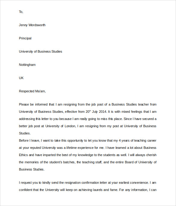 High Quality School Teacher Resignation Letter In Teacher Resignation Letter