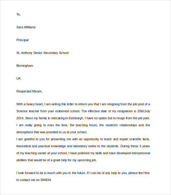 9 teacher resignation letter templates to download sample templates teacher resignation letter sample expocarfo Images