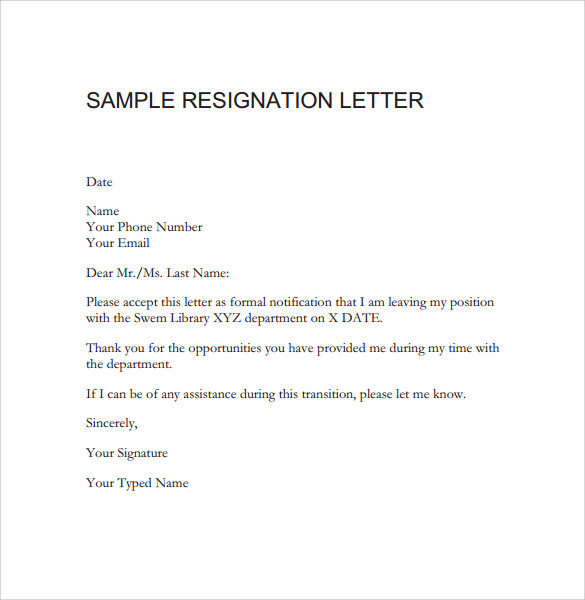 Attractive Sample Resignation Letter For A Teacher