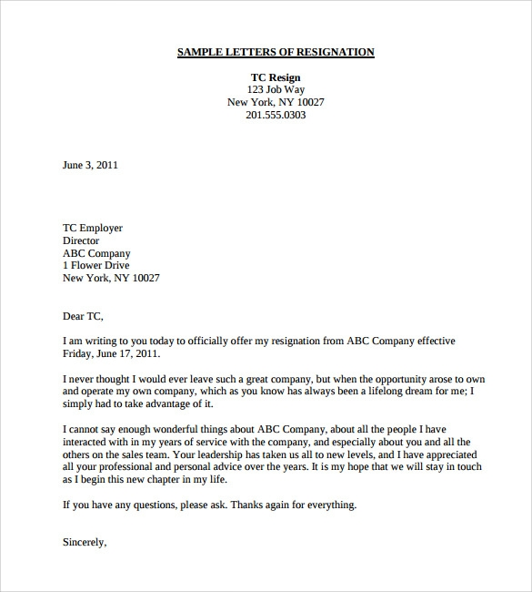 Teacher Resignation Letter 8 Download Documents in PDF Word – Sample Letter of Resignation Template